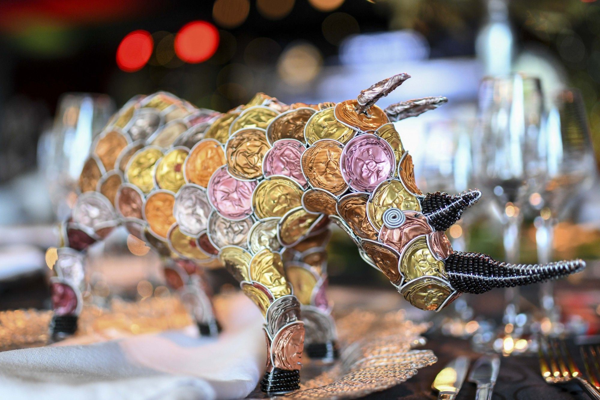 Miniature Rhino made by local artisans from recycled coffee capsules