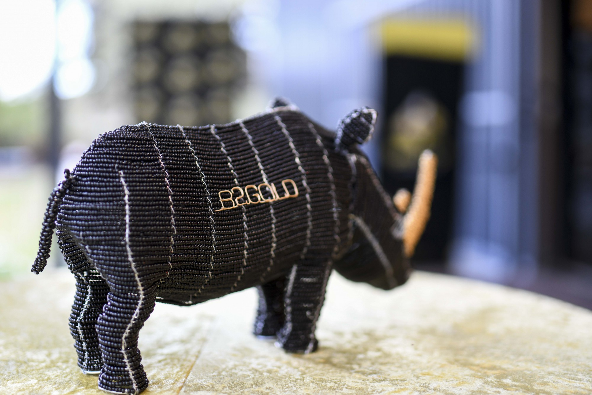 Miniature Rhino made by local artisans from beads