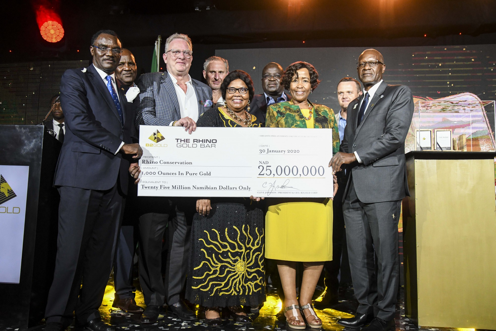 Front (left to right): Dr. Leake Hangala ( Director, B2Gold Namibia Proprietary Limited), Clive Johnson (President, CEO & Director, B2Gold Corp.), Honorable Bernadette Jagger (Deputy Minister of Environment and Tourism), Inge Zaamwani-Kamwi (Adviser to the President of the Republic of Namibia, Dr Hage Geingob) and Tom Alweendo (Minister of Mines and Energy) Back (left to right): Simson Uri-Khob (CEO, Save the Rhino Trust), Mark Dawe (Country Manager and Managing Director – Namibia, B2Gold Corp.), John Kasaona (Executive Director, Integrated Rural Development and Nature Conservation), and John Roos (Reporting & Projects- Manager, B2Gold Corp.)