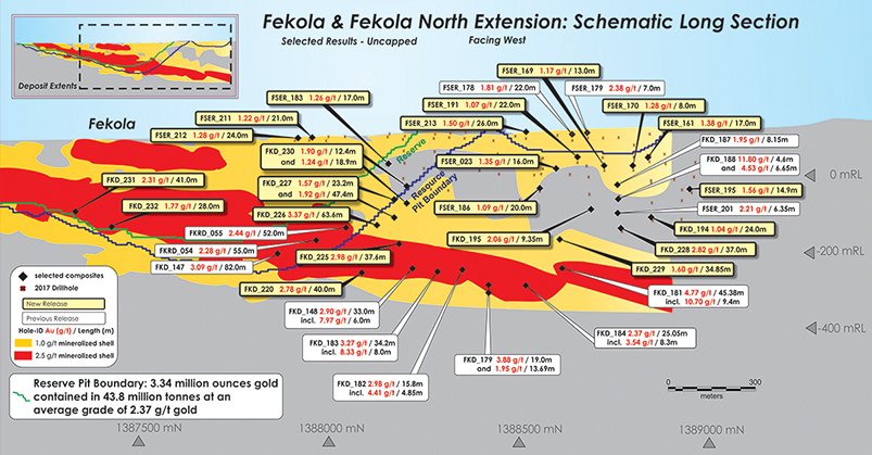 Fekeola & Fekola North Extension: Schematic Long Section